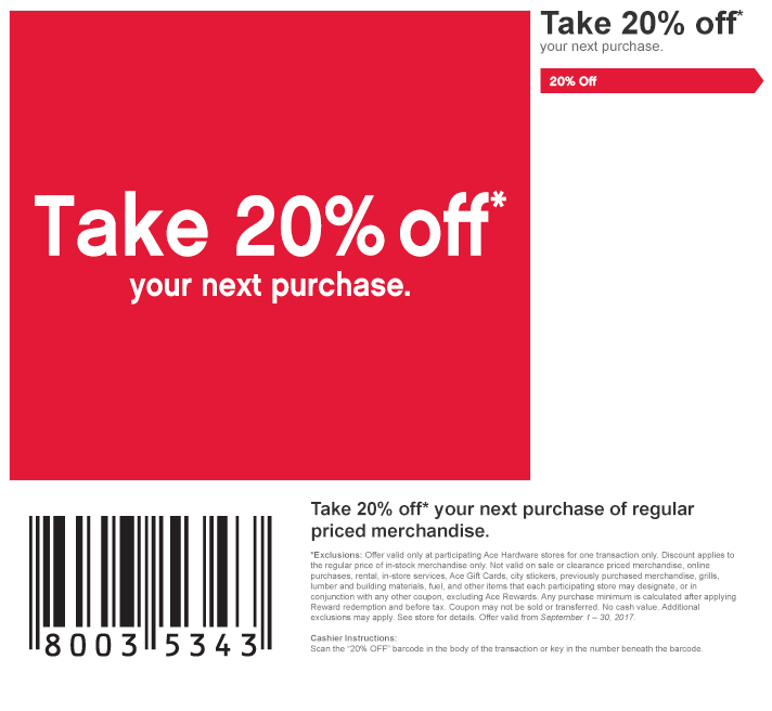 20% off  next purchase - Sep 1 - 30, 2017